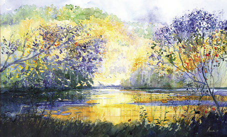 "Fall Colors, 18"" x 30"", transparent watercolors (Aquarelles)  by George Kosinski"