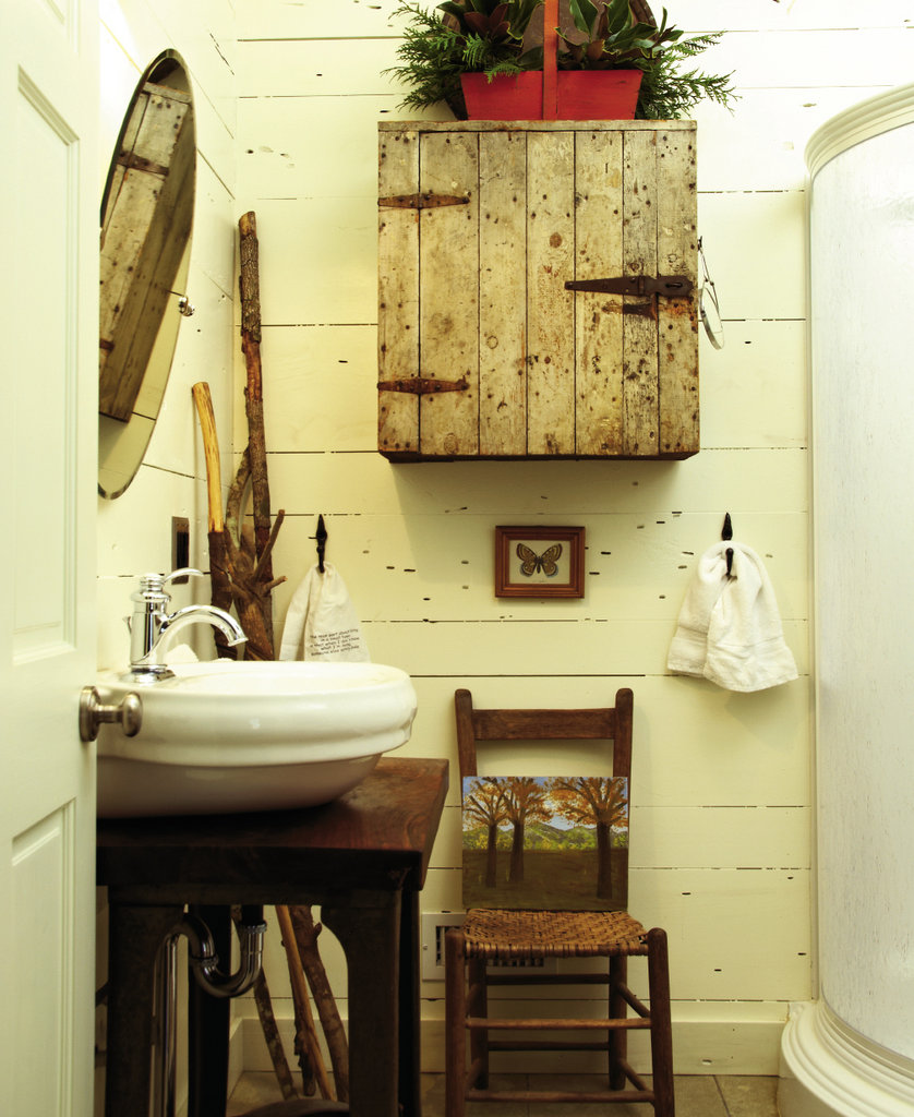 The remodel gave the couple a chance to add a second bathroom, which features an antique first aid cabinet.