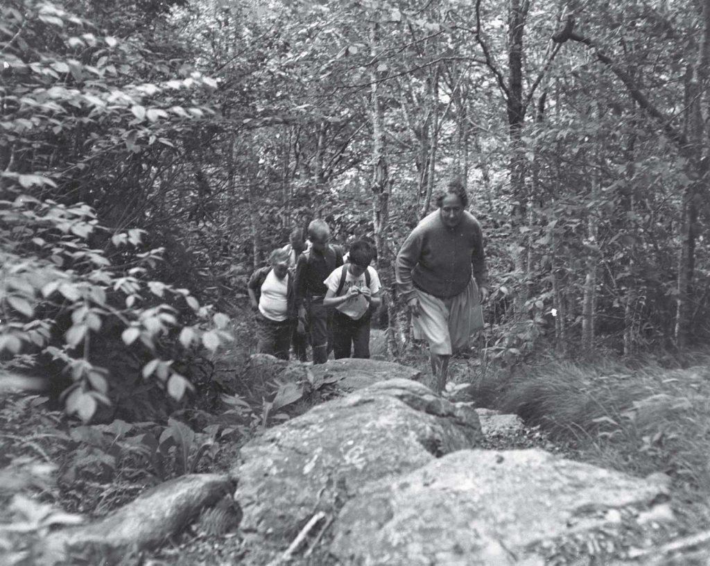 Throughout the varied activities at Camp Catawba, Vera Lachmann was a constant. Despite an old leg injury that slowed her pace, she insisted on taking arduous hikes, like the one shown here, with her campers.