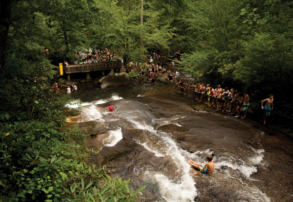 Sliding Rock is one of the most popular recreational attractions in Pisgah National Forest.