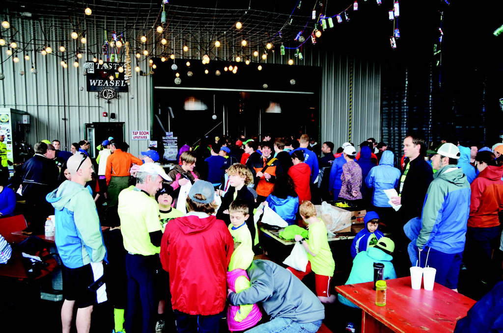 Runners enjoyed post-race festivities at Oskar Blues Brewery in Brevard.