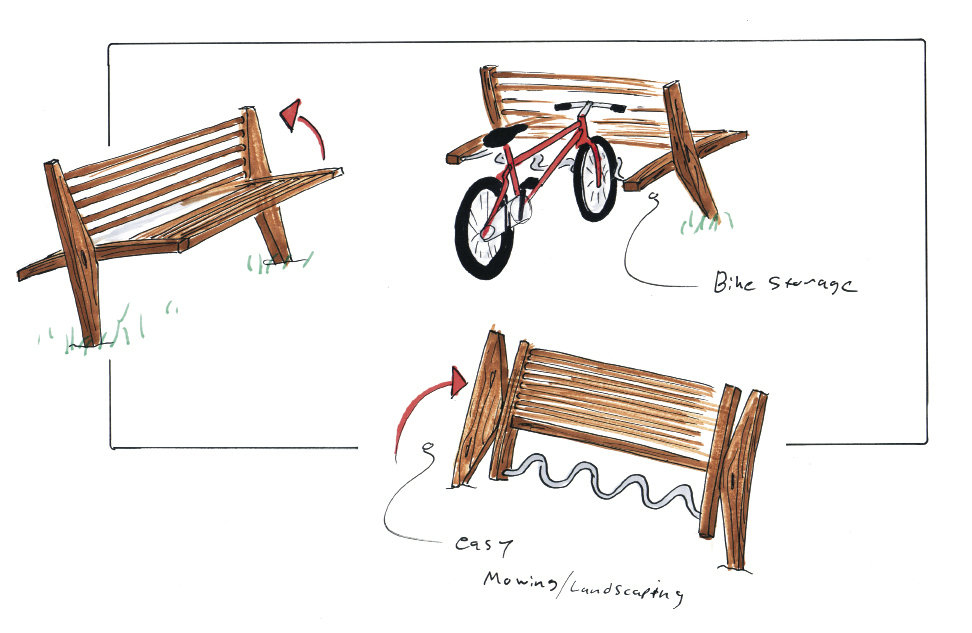 The initial design of The Wright Bench included the ability to fold