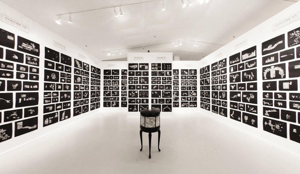 The Funk & Wag installation  includes 524 collages of images culled from encyclopedias and is arranged according to volume.