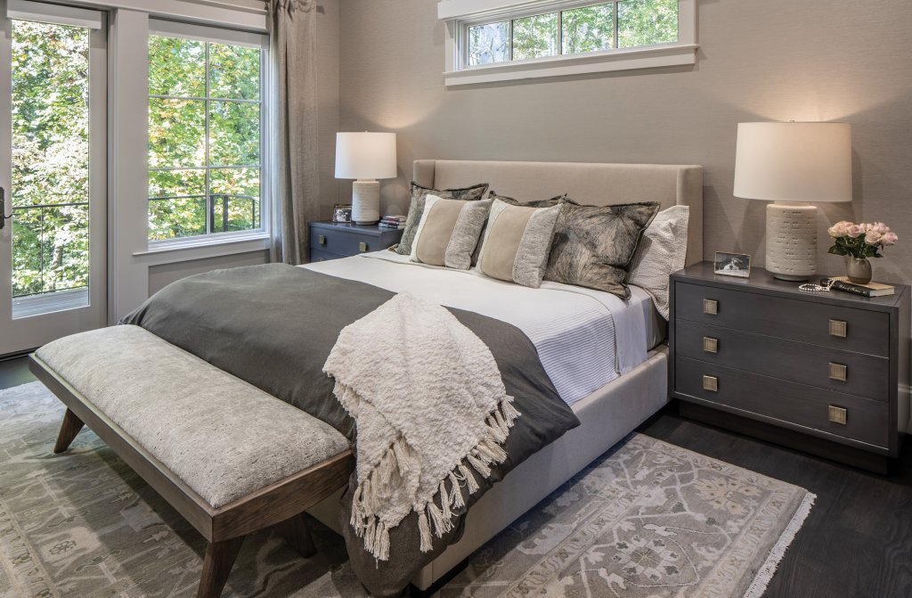 The master suite is awash in soft neutral tones.
