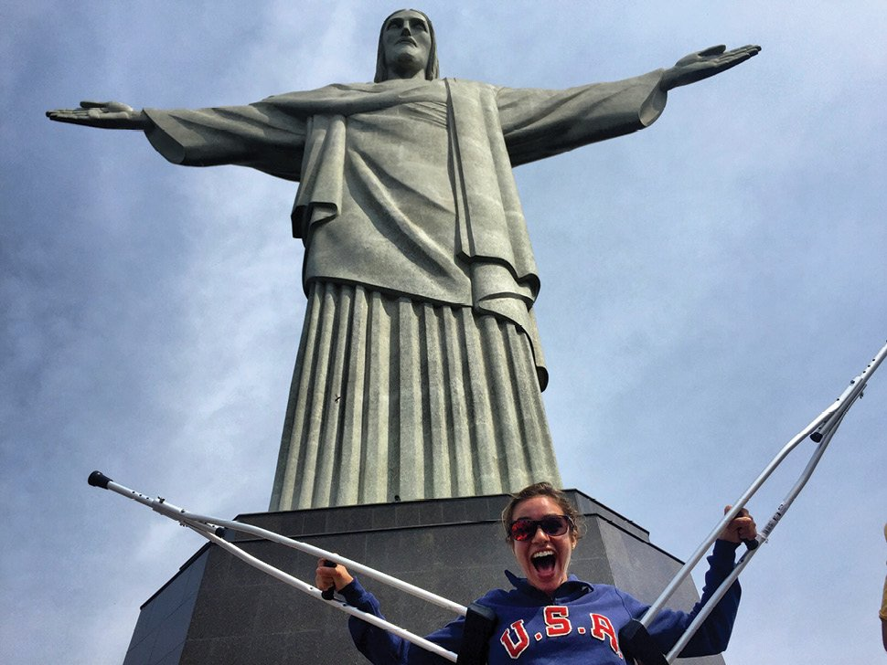 After her injury, her family took her (in a wheelchair) to Rio's most famous landmark.