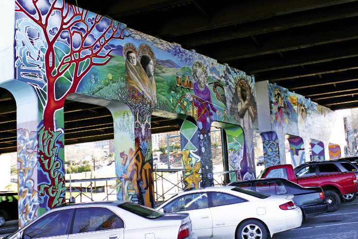 the Lexington Gateway mural  highlights the city's iconic characters.