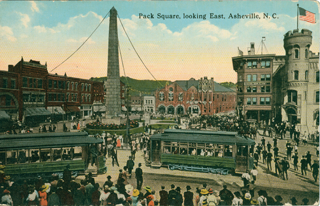 A colorized photo from the same era shows trolleys as the lifeblood of a bustling town.