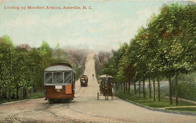 As trolleys began to take hold in Asheville, they still shared the streets with the horse-drawn set.