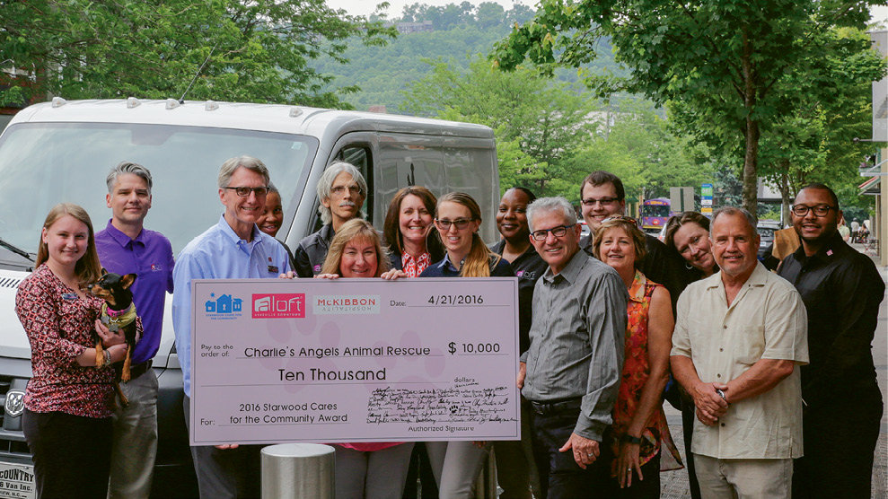 Aloft received a 2016 Starwood award for community support, which McKibbon Hospitality, in turn, matched and donated to Charlie's Angels Animal Rescue.