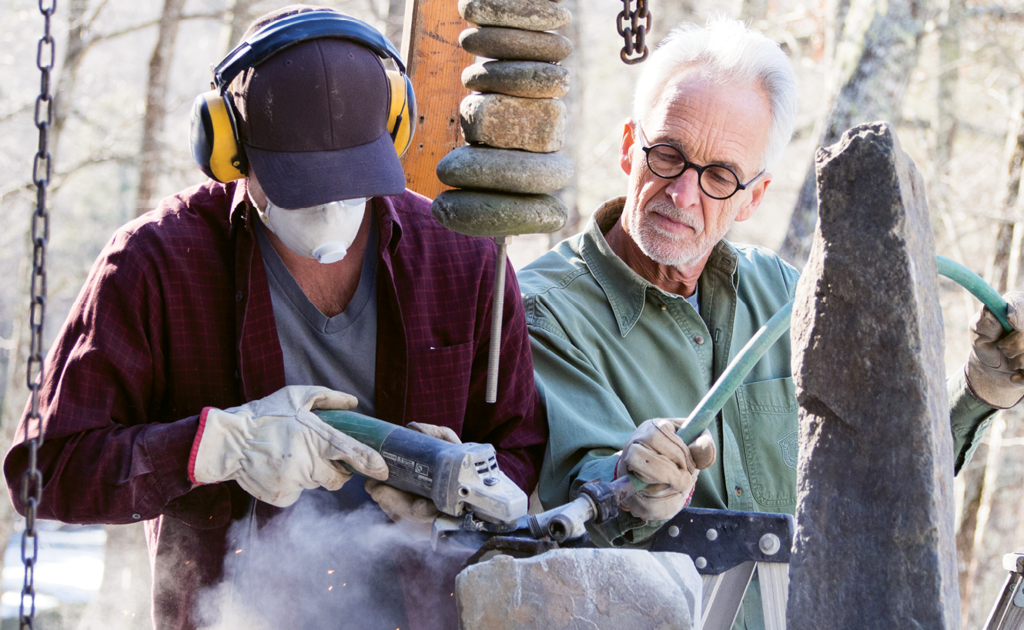 The artist now  works with his son,  Ethan, on major stoneworks.