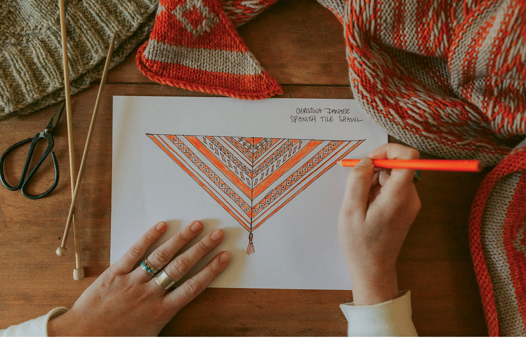 Danaee drafts patterns, such as this Azulejo shawl, and then sends them to experienced knitters worldwide who test her instructions.