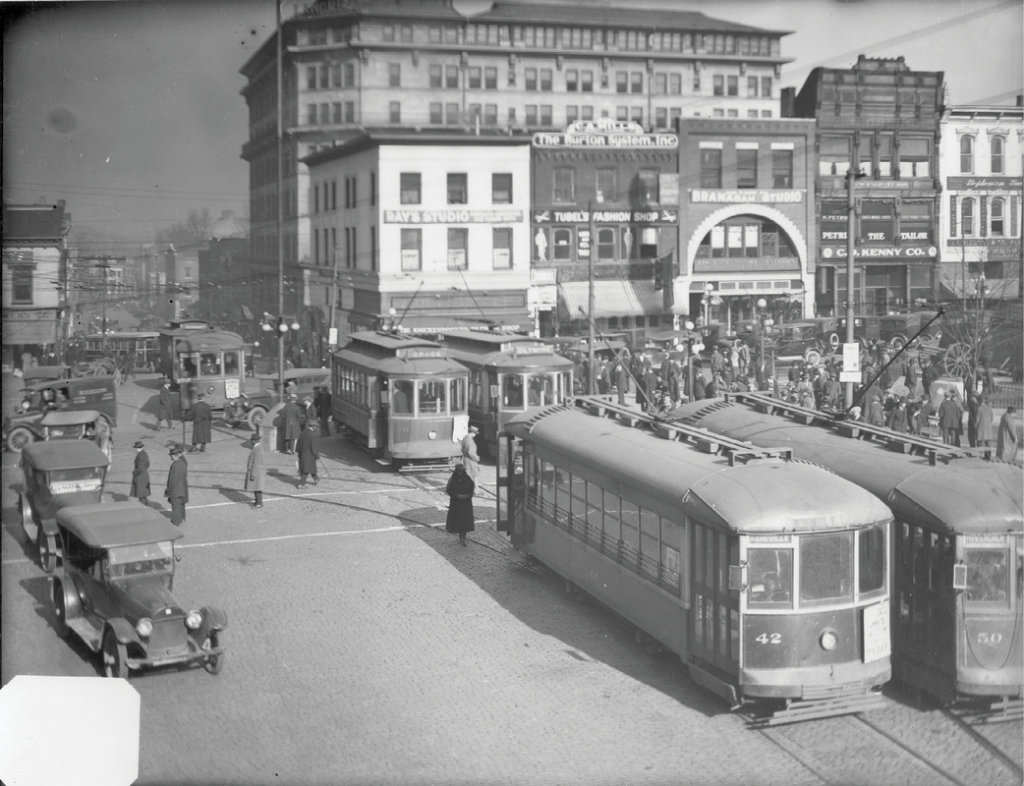 A typical street scene in early 1920s Asheville.