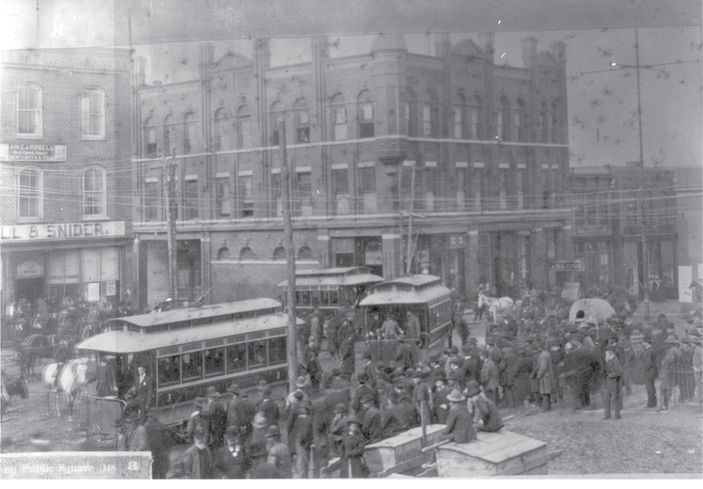 Ashevilleans packed downtown streets to see the first run of the city's electric streetcars in February 1889.