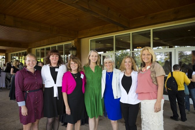 From CooperRiis Healing Community Stephanie Stewart, Michele Aubert, Jen Vitti,  Lisbeth Cooper, Suess Fraser and Marlena Warren with Piper Kerman.