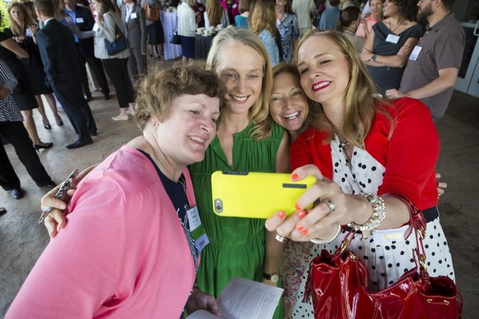 Jill Vargo, Karen Sherrill and Kris Gowin took a selfie with Piper Kerman