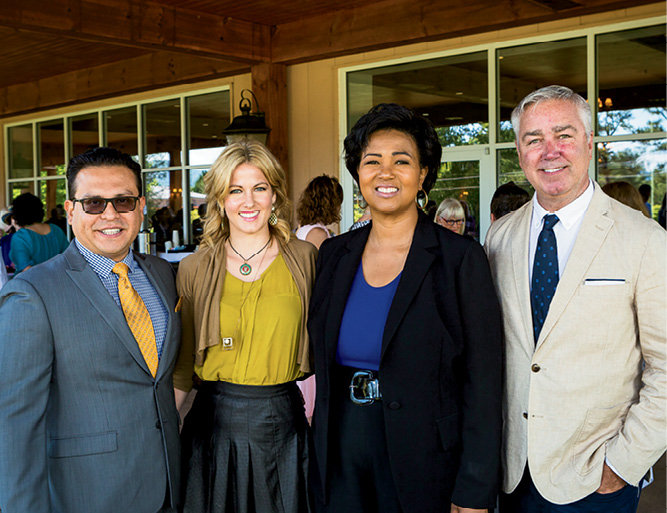 Board member Guadalupe Chavarria, Hillary Small, Dr. Mae Jemison, and Rick Ramsey