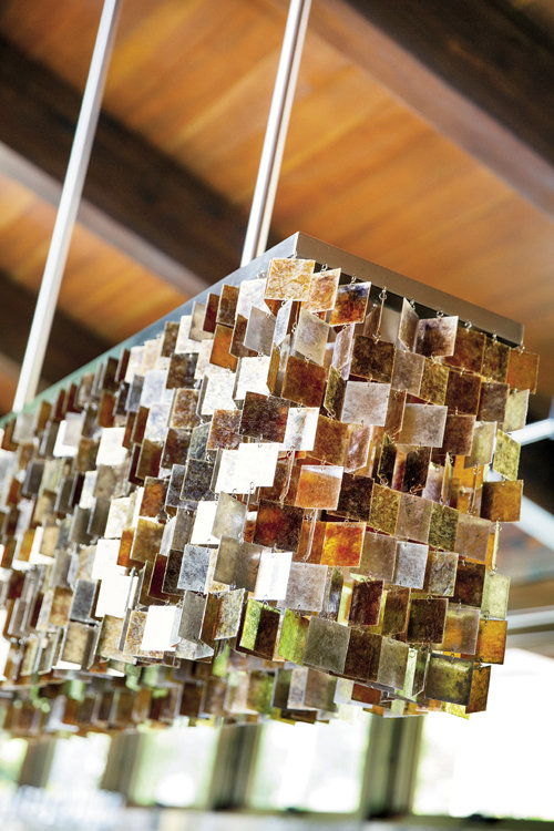 A mica chandelier by Fuse Lighting.