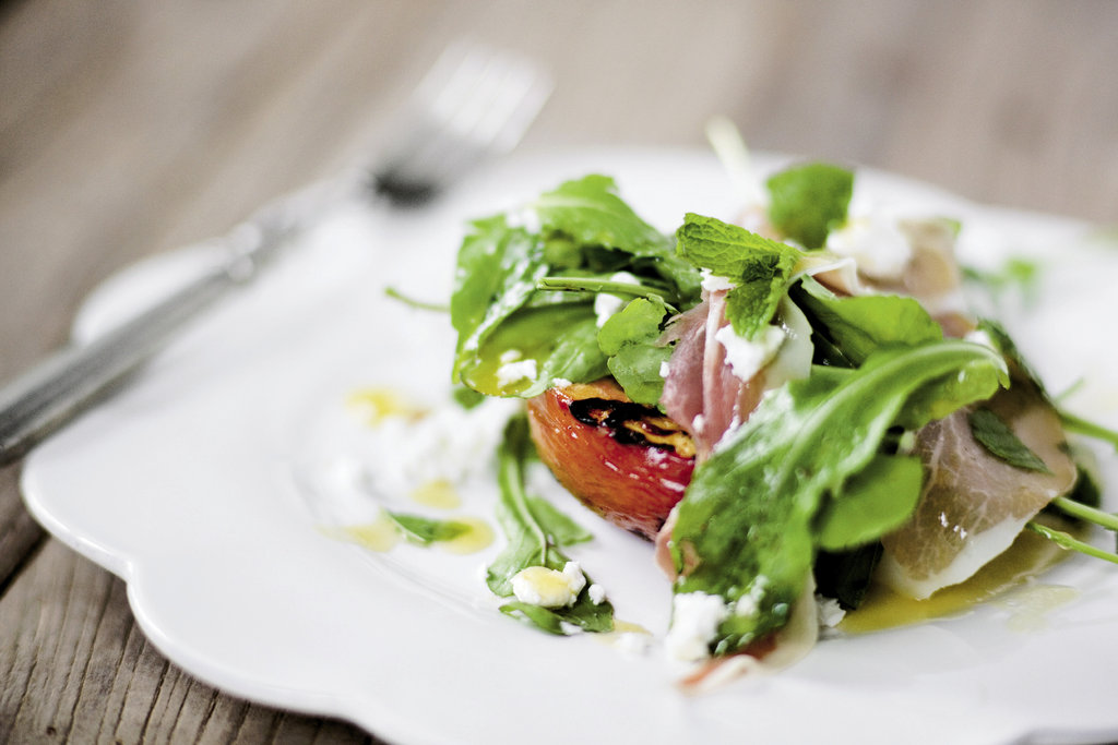 the arugula salad made with grilled nectarines and prosciutto.