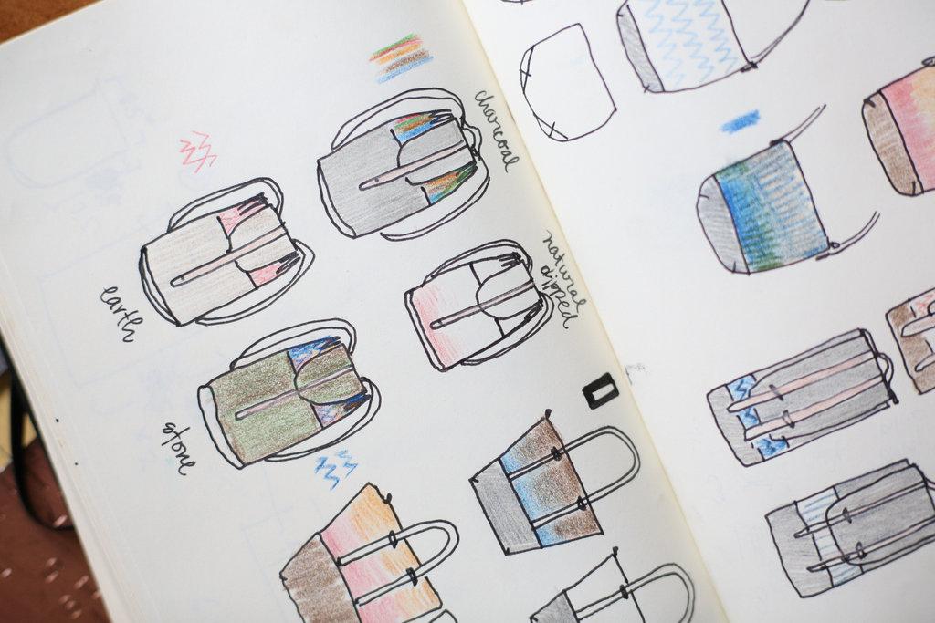 Pack design sketches by Reinertson
