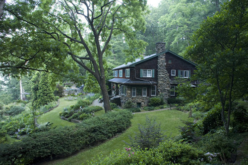 The Gentling's home and garden sits on a terraced mountainside overlooking Asheville.