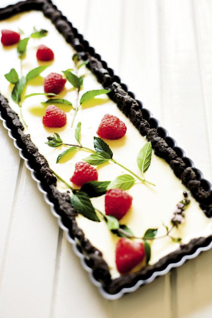 Chocolate Mint with Raspberries