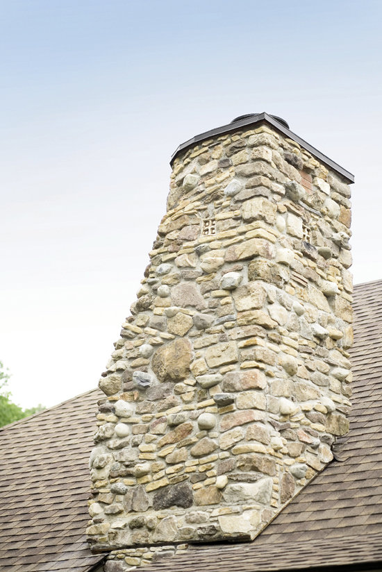 The chimney features fairy windows.