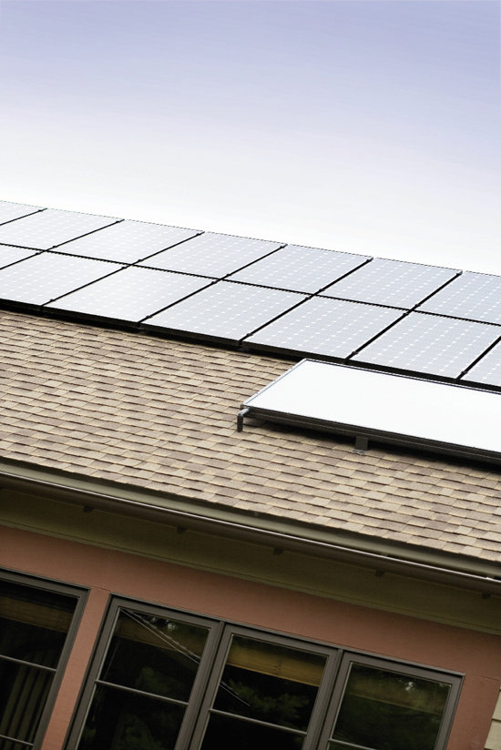 Rain chains  channel water, and banks of solar panels  will supply the home's electrical needs.