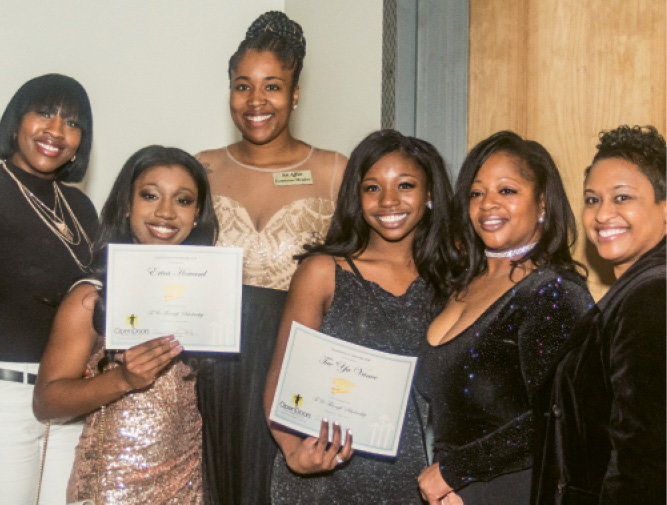 (Back row) Michelle Howard and Erykah  Howard; (front row) Quanteria Sitton, Tae'ya Vance, Genny Vance, and Dr. Denise Patterson