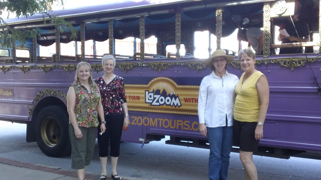 Sisters Carole Austin of Monroe, Georgia; Beth Parker of Chicago; Debbie Kretz of Fort Bragg; and Lisa Bryson of Tampa, Florida reunite with a La Zoom tour