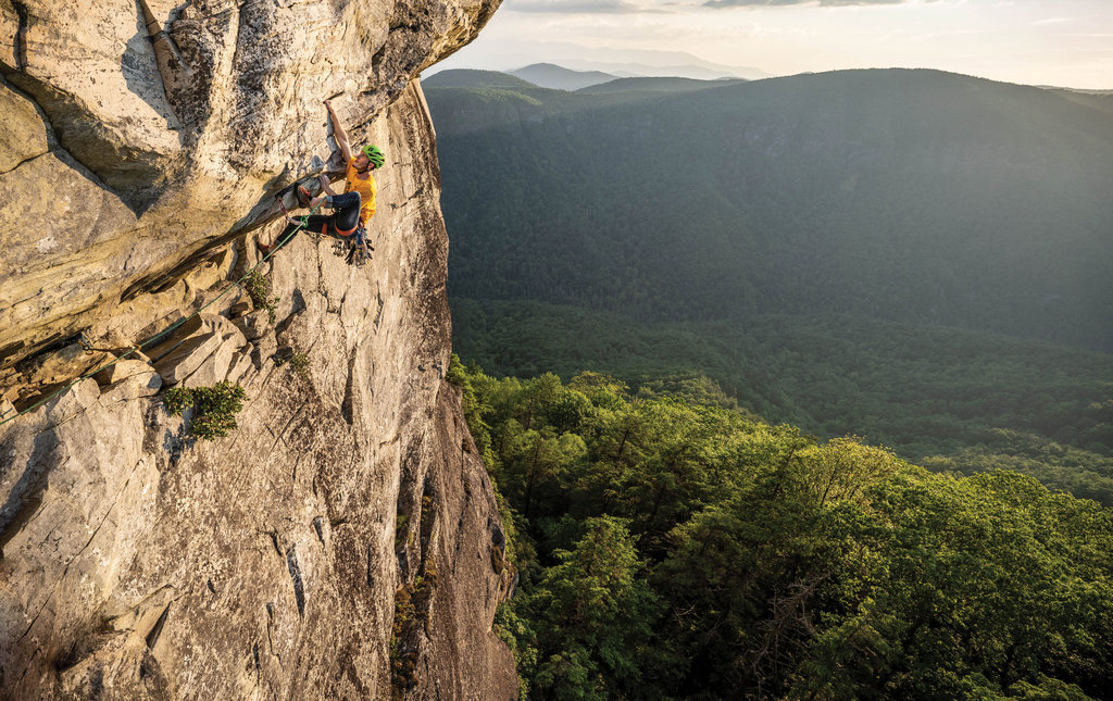 1ST PLACE AMATEUR CATEGORY - Lost In Space by Benjamin Wu - An instructor with Fox Mountain Guides, Wu snapped this cliff-hanger of a photo of his friend Carter navigating a difficult route while climbing in the Linville Gorge.