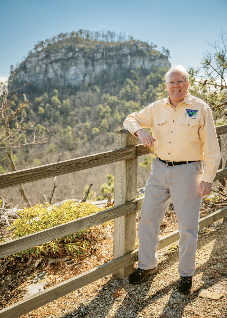 "MST visionary Jim Hallsey at Pilot Mountain  ""The original route planning for the MST included a lot of practical considerations, but it was inspiring too.""  —Jim Hallsey"