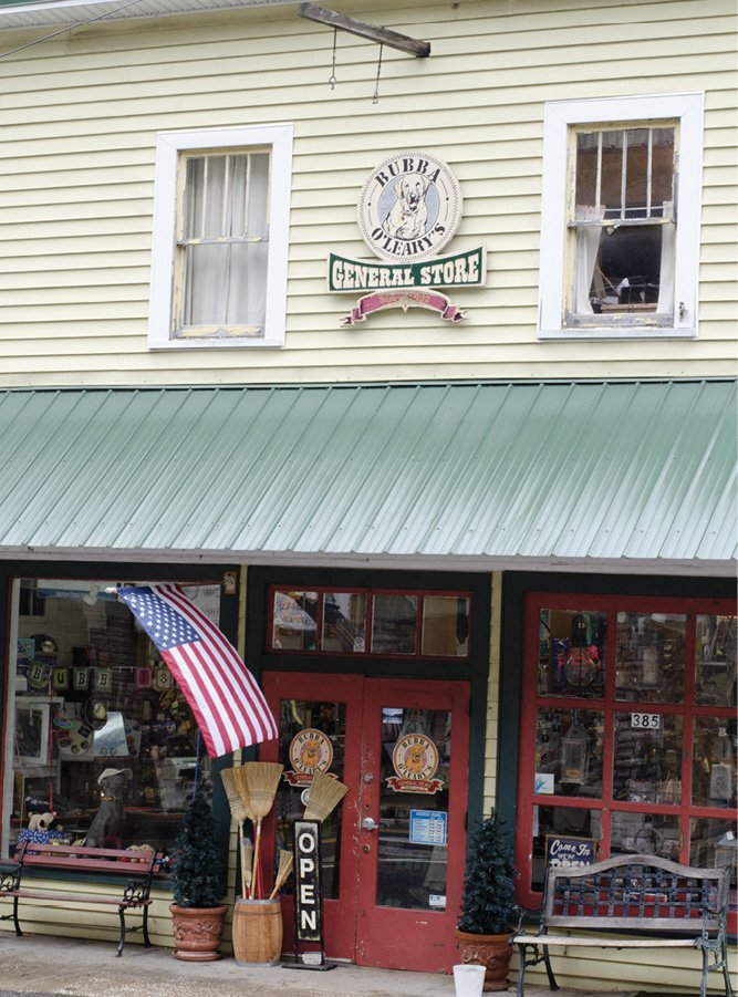 In downtown Chimney Rock, quaint shops like Bubba O'Leary's General Store line the Rocky Broad River.