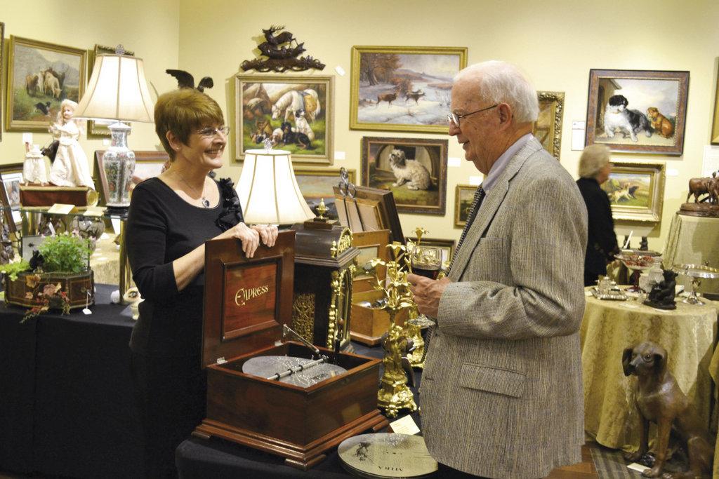 Shelagh Berryman of Bond Street Antiques showcased a vintage music box.
