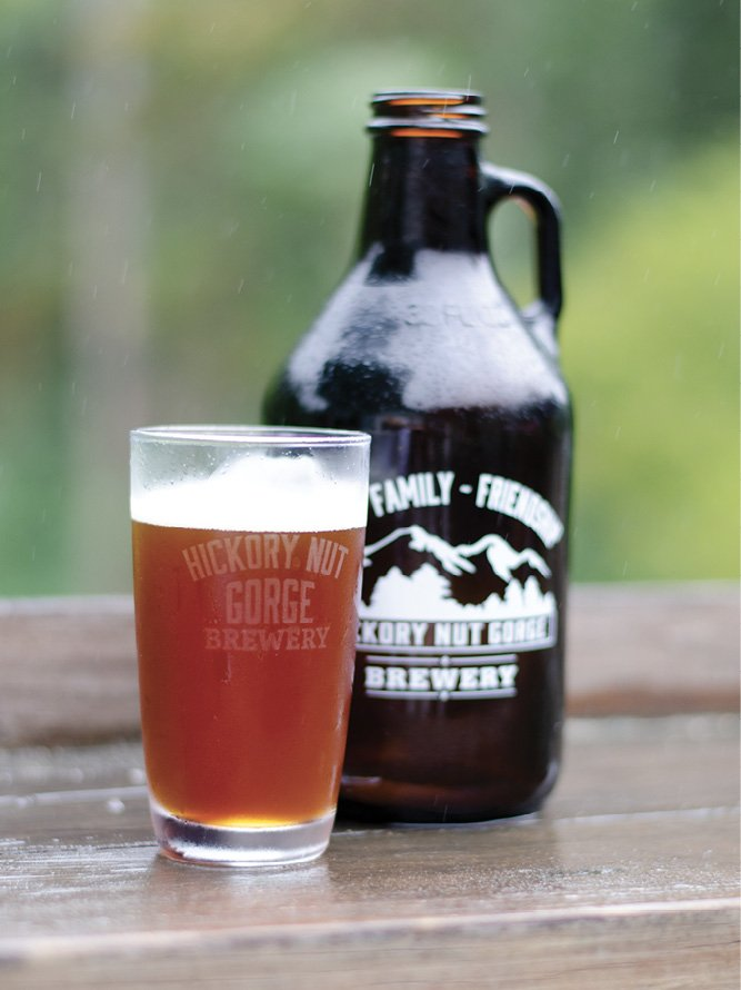 Hickory Nut Gorge Brewery has a great outdoor setting overlooking the Rocky Broad River