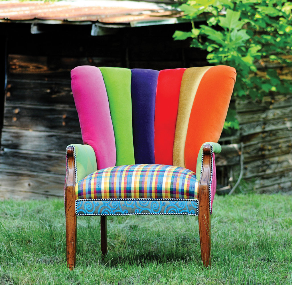Jill Towery's statement furnishings, like this jewel-tone channel-back chair, are produced with upcycled upholstery fabrics, and each is one-of-a-kind.