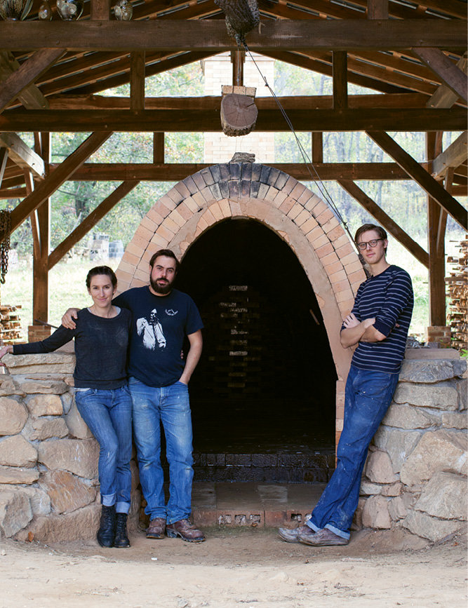 It was a three-month process for one person to hand-produce and fire some 1,500 pieces in the massive wood-burning kiln Alex built.