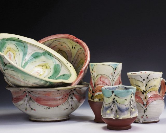 Assorted Bowls & Cups, wheel-thrown red clay and hand-painted glazes By Elise Pincu Delfield, Bryson City