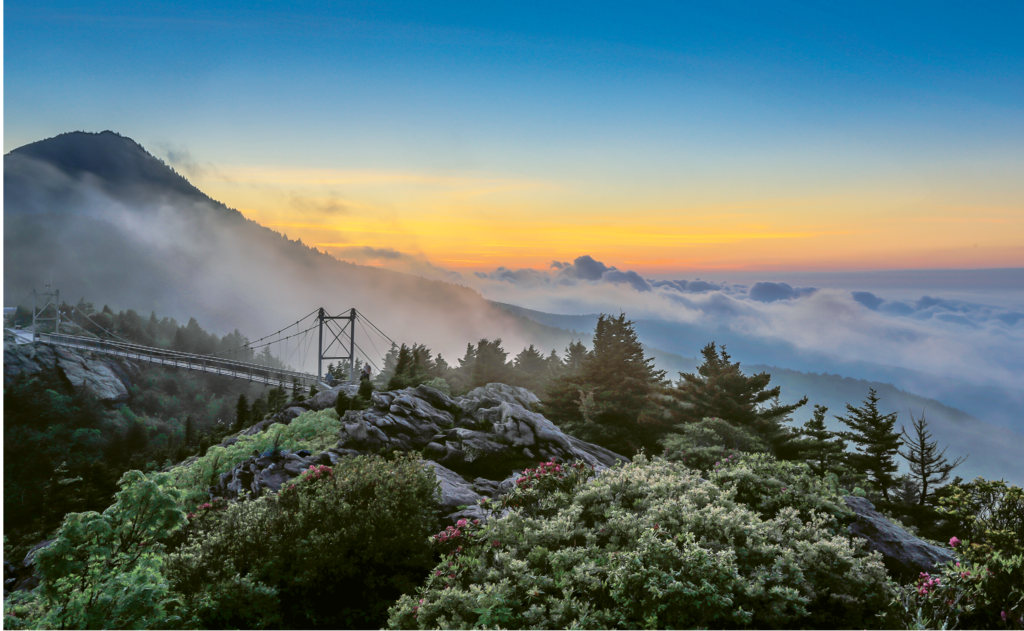 Ronald Santina, Rolling fog made for a dramatic morning shot overlooking the Grandfather Mountain's Mile High Swinging Bridge. Amateur category