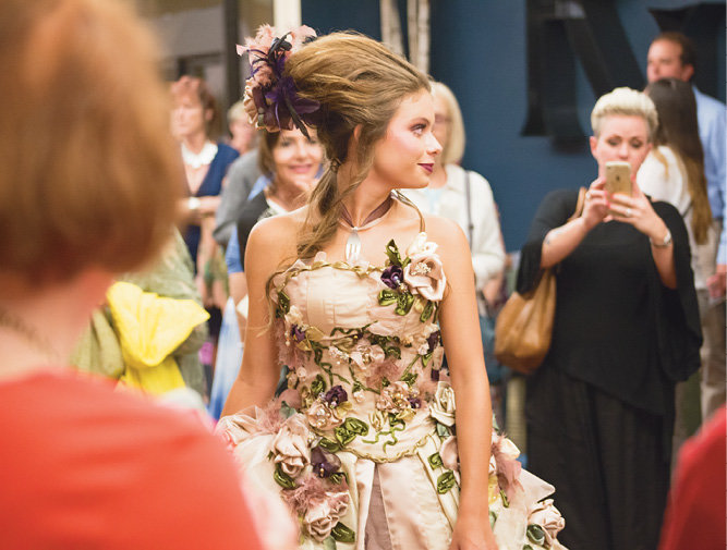 Hannah Kepple modeled the Best in Show dress, designed by Rebecca Freeman.
