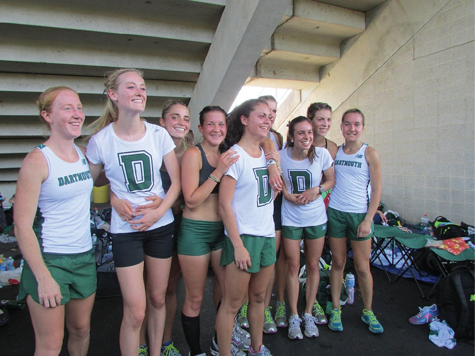 Cooper (third from right) with her college team at Dartmouth, where she became the first female distance runner to win an NCAA title.