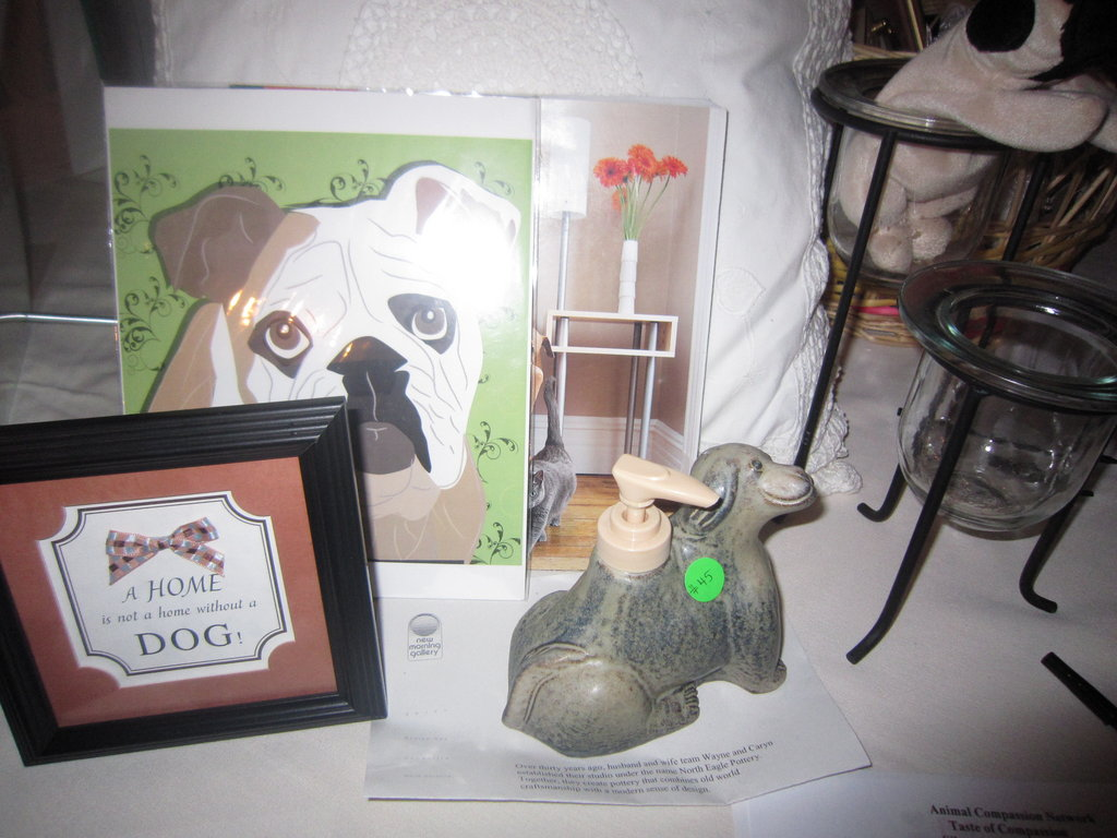 Auction items included animal paraphernalia.