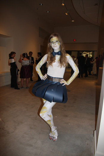 Brittany Hulsey wearing a Lindsey Bryant designed paper dress and body paint by Bill and Amy of Hip Thrift