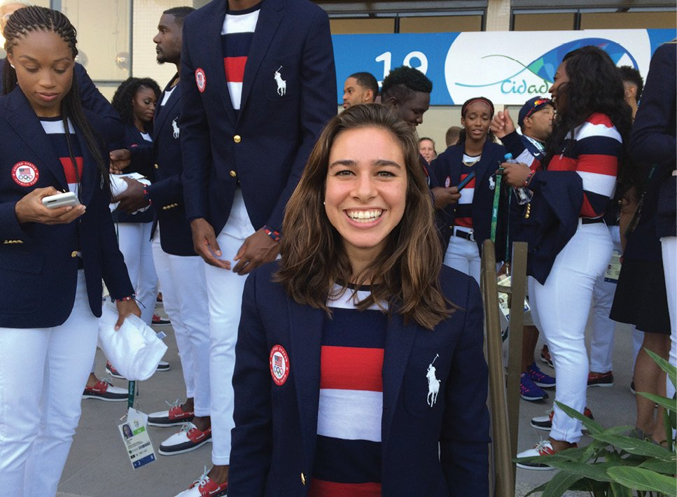 Cooper and fellow team members (all outfitted by Ralph Lauren) ahead of the 2016 Summer Olympic Games opening ceremony in Rio.