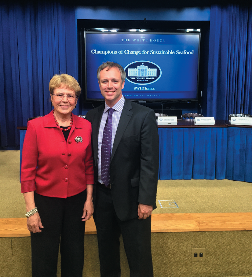 In 2016, he was honored as a Champion of Change for Sustainable Seafood at the Capitol, shown with former head of NOAA Dr. Jane Lubchenco.