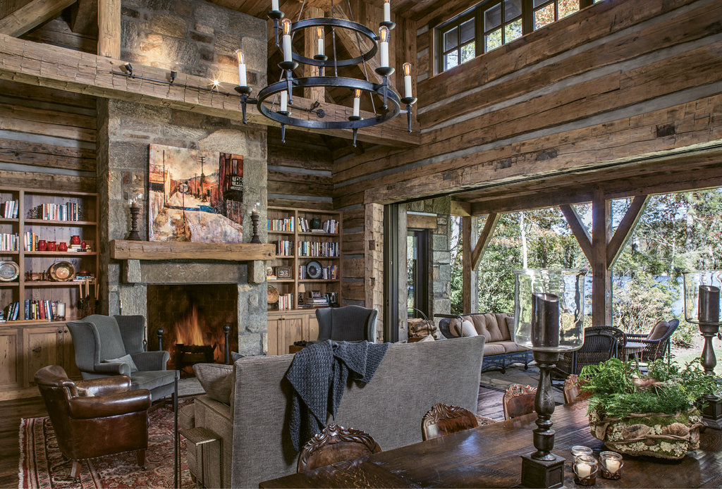Good Nature - The log-cabin look carries throughout, while, in the living room, sliding glass pocket doors put the lake in full focus.