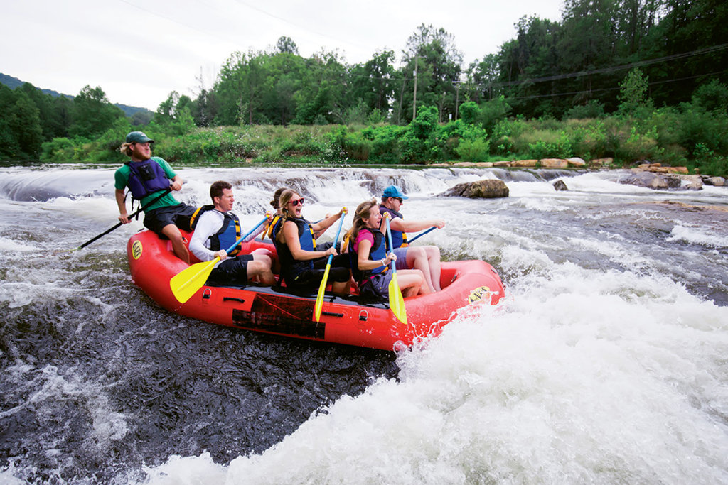 With milder class I and II rapids, the Tuckaseegee River is ideal for rafters of all ages.