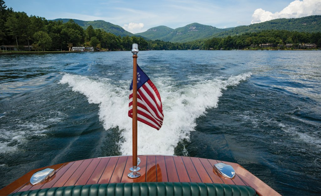 Since the rise of fiberglass boats in the 1960s—and because the level of craftsmanship required is not suited for large-scale production—wooden boats are a seldom-seen novelty these days. In Western North Carolina, a fleet of about 20 of them are afloat on Lake Toxaway.