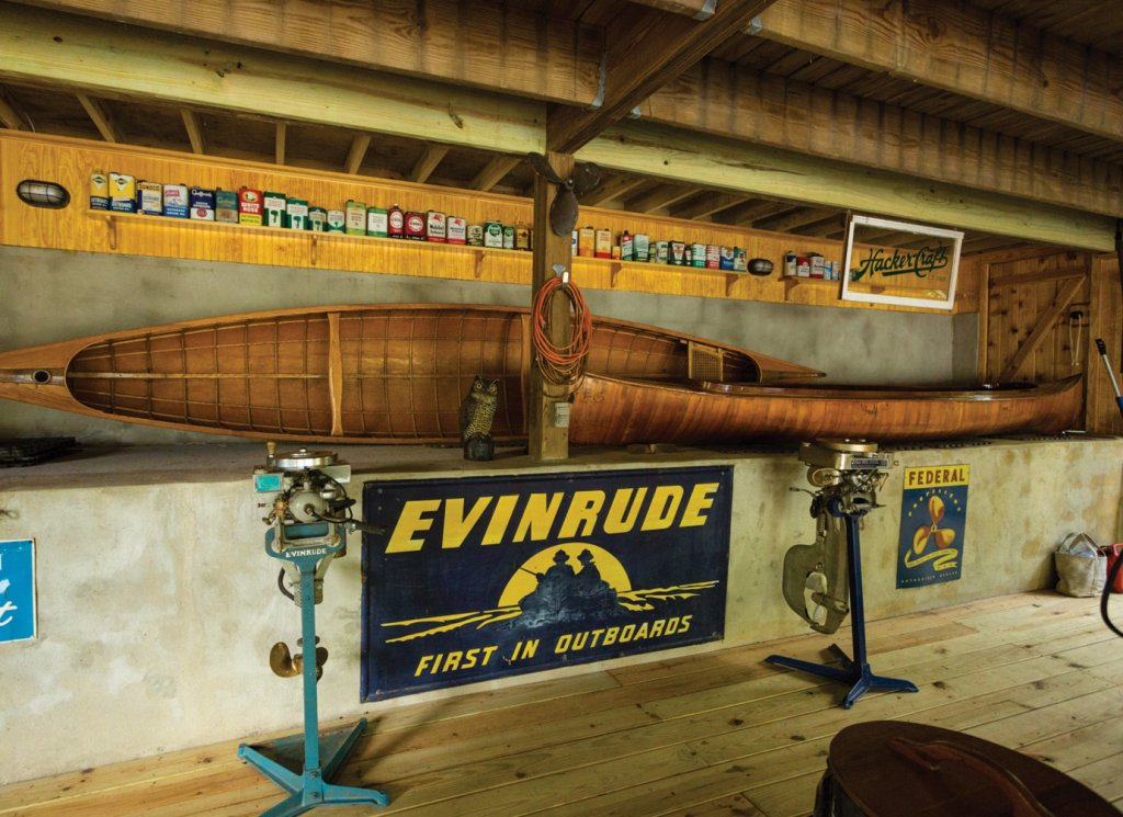 The boathouse holds wooden canoes from 1910 and a rare one from 1890