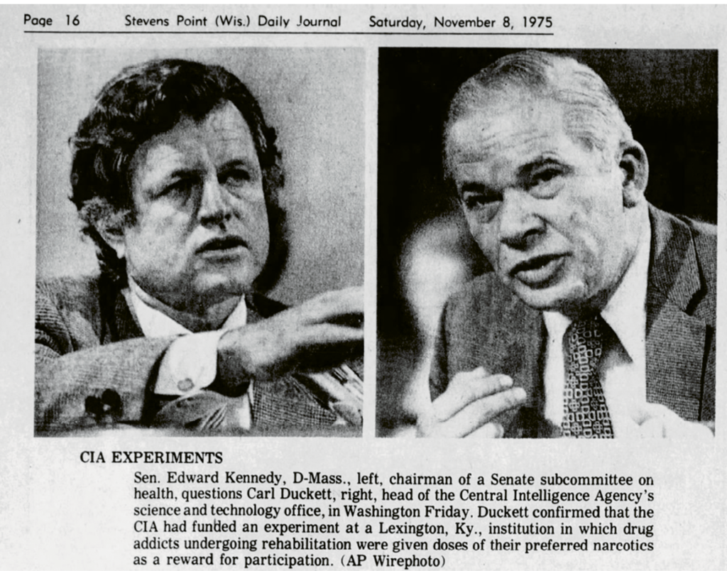In 1975, Duckett made a rare public appearance, testifying to a Senate committee about revelations that the CIA had conducted extensive secret drug tests.