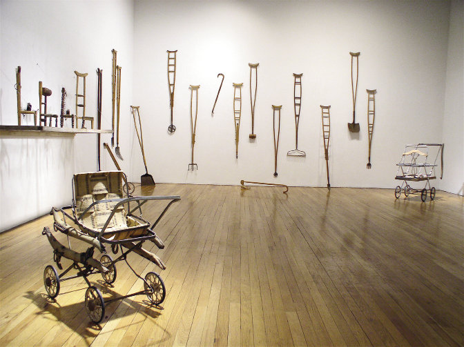 Mix it up Crutches outfitted with wheels, shovel blades, bow rakes, and other appendages take on new personalities in Orselli's Impedimenta installation.